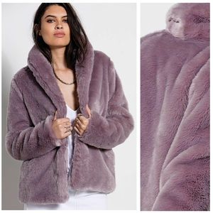 Oversized Faux Fur Overcoat Grey Lavender